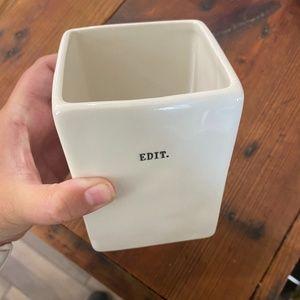 """Rae Dunn Accents - Rae Dunn """"EDIT"""" ceramic desk square cup"""